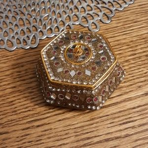Boho Gold and Red Mirrored Jewelry Box